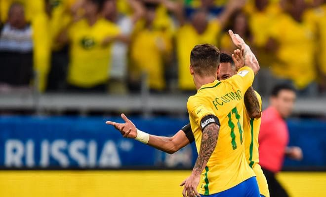 Coutinho celebrating his first goal with Neymar!