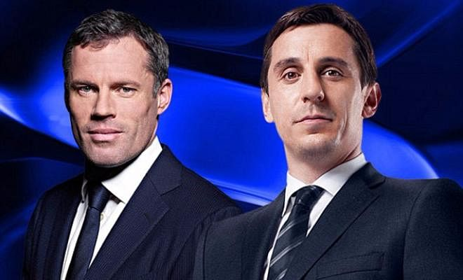 Blockbuster cast on Monday Night FootballLiverpool legend Jamie Carragher will be outnumbered by Manchester United legends Ryan Giggs and Gary Neville as MNF goes live from a stadium for the first time in 8 years!