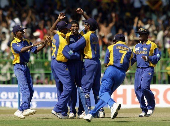 Kumar Dharmasena of Sri Lanka celebrates the wicket of Adam Gilchrist of Australia