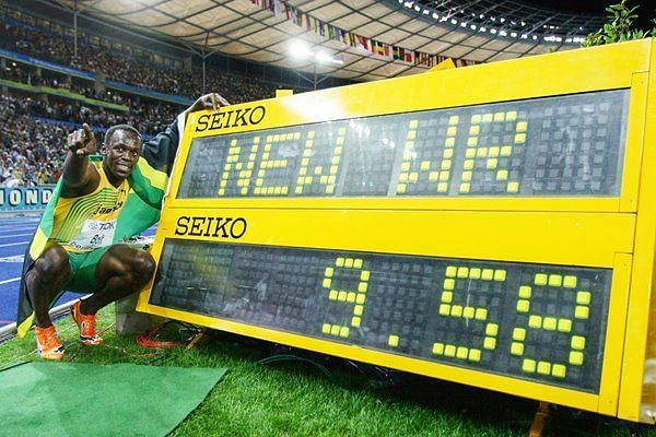 Usain Bolt after after breaking the mark in 2009