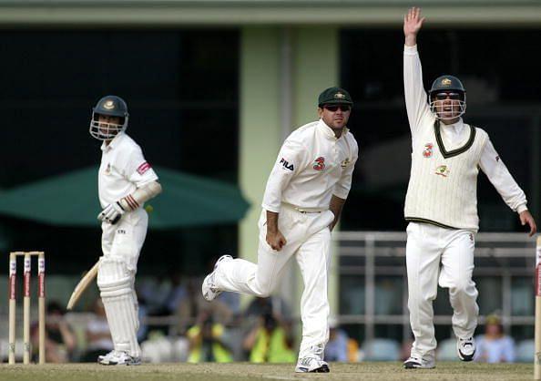 Ricky Ponting of Australia takes a catch to dismiss Sanwar Hossain of Bangladesh