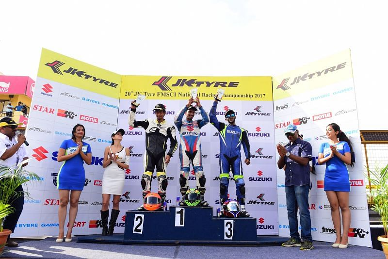 The winners of Round 2 of the 20th JK Tyre FMSCI National Racing Championship