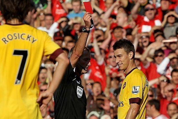 Players sent off Premier League debut