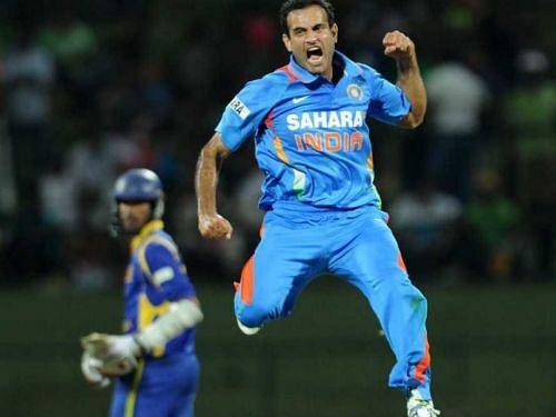 Irfan Pathan celebrates a wicket