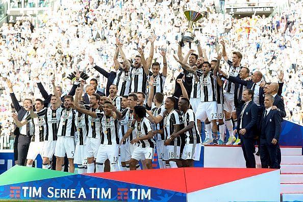Juventus celebrate winning the Scudetto