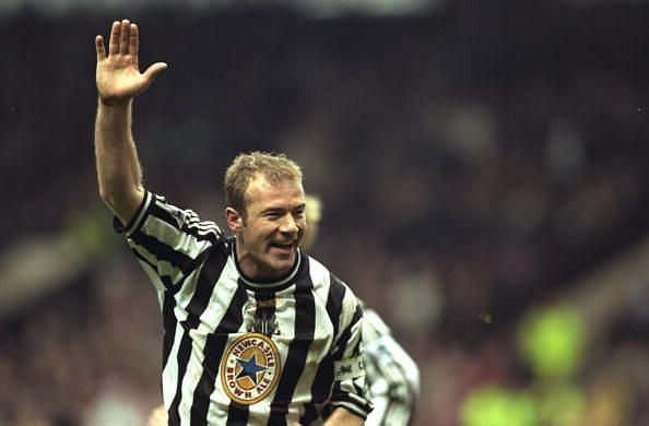 Joy for Alan Shearer of Newcastle as he scores the winning goal