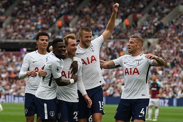 Tottenam Hotspur celebrate scoring against West Ham United