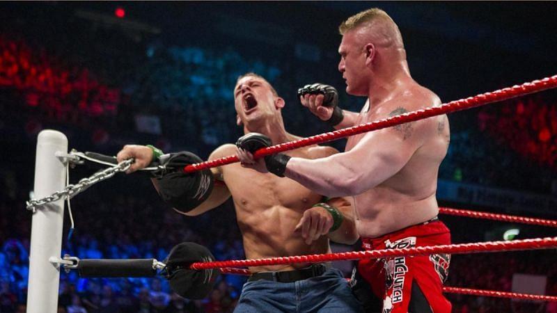 Cena facing the brunt of Lesnar's brutal rights