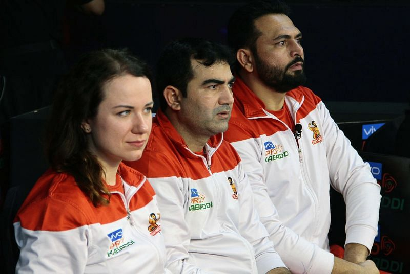 Olivia Witek (first from left) has been an ever present on the sidelines of every Gujarat game
