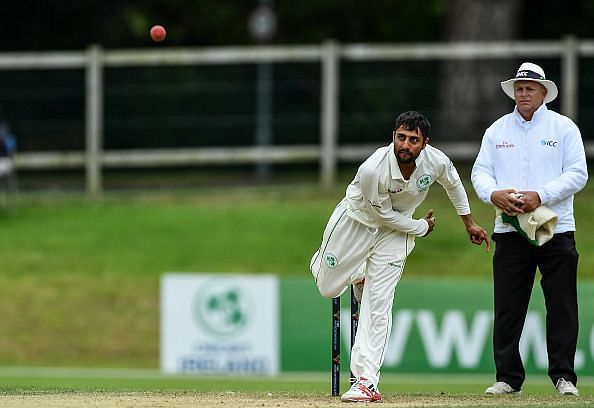 Simi Singh in action during the ICC Intercontinental Cup match between Ireland and Netherlands