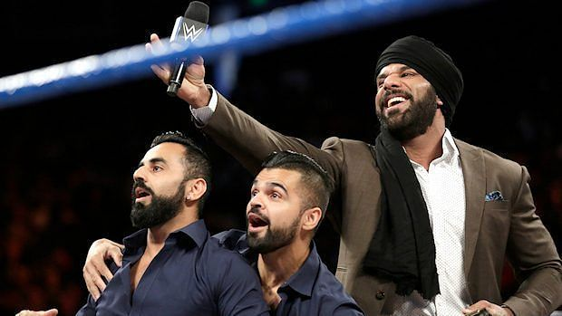 WWE World Jinder Mahal with the Singh Brothers