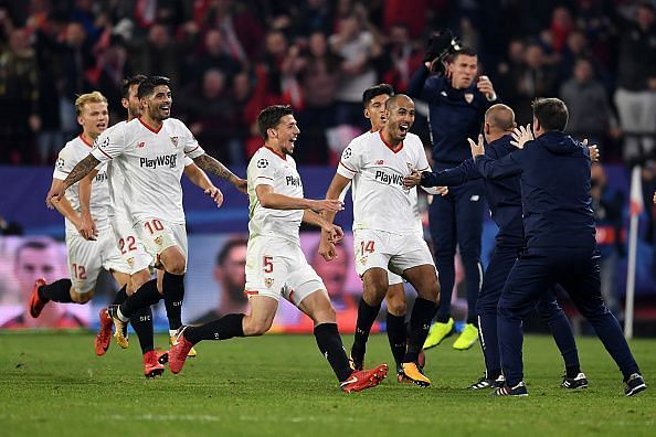 Pizarro celebrates with his teammates after the equalising goal