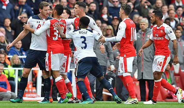 A heated moment during the derby