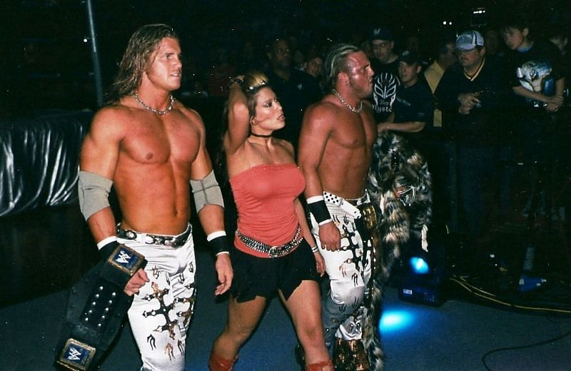 Morrison (then known as Nitro), left, with Melina in the middle and (Joey) Mercury on the right