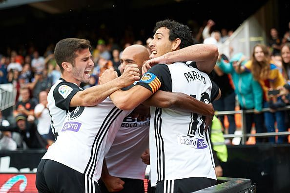 The Valencia players celebrate a goal against Leganes