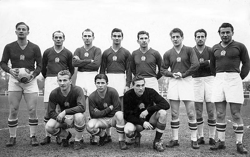 The Hungarian national team pictured in the 1950
