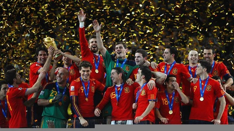 Spain celebrate after winning the 2010 FIFA World Cup