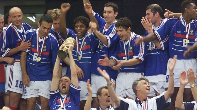 The France squad celebrate their World Cup victory at the Stade de France in 1998.