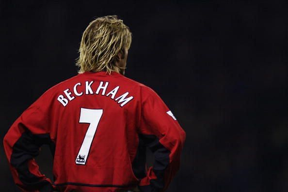 Beckham wore the Number 7 shirt vacated by Cantona with distinction