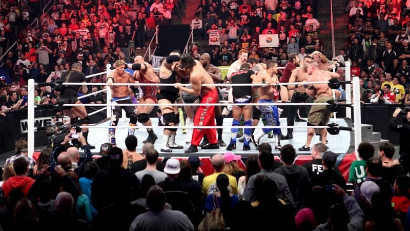 The ring managed to withstand the weigth of 14 superstars at once back in 2009