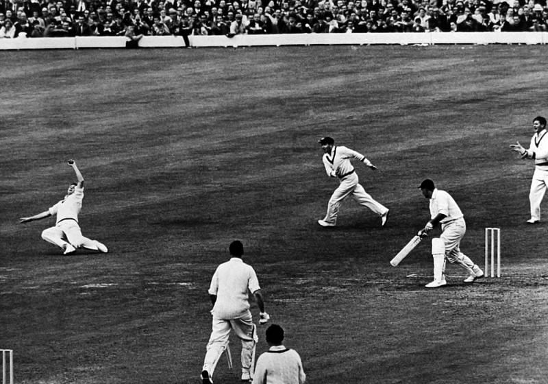 Colin Cowdrey takes a superb catch at slip.