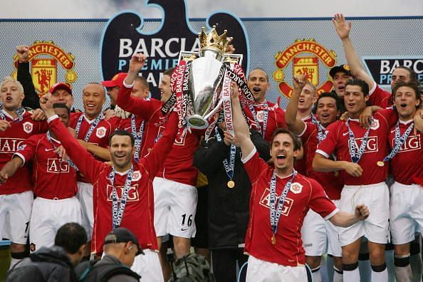 Manchester United lifting just one of their 13 Premier League titles