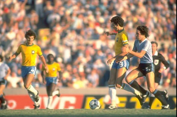 Socrates of Brazil kicks the ball during the World Cup match against Argentina
