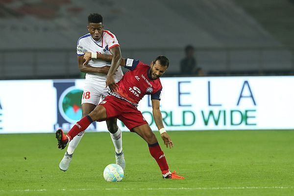 Shouvik (right) during his stint with Jamshedpur FC