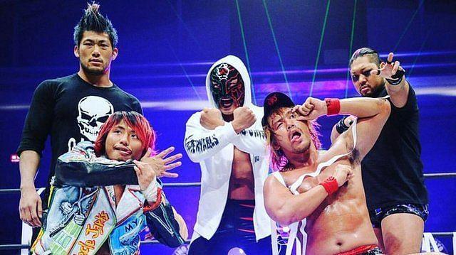 From left to right: SANADA, Takahashi, BUSHI, Naito, and EVIL