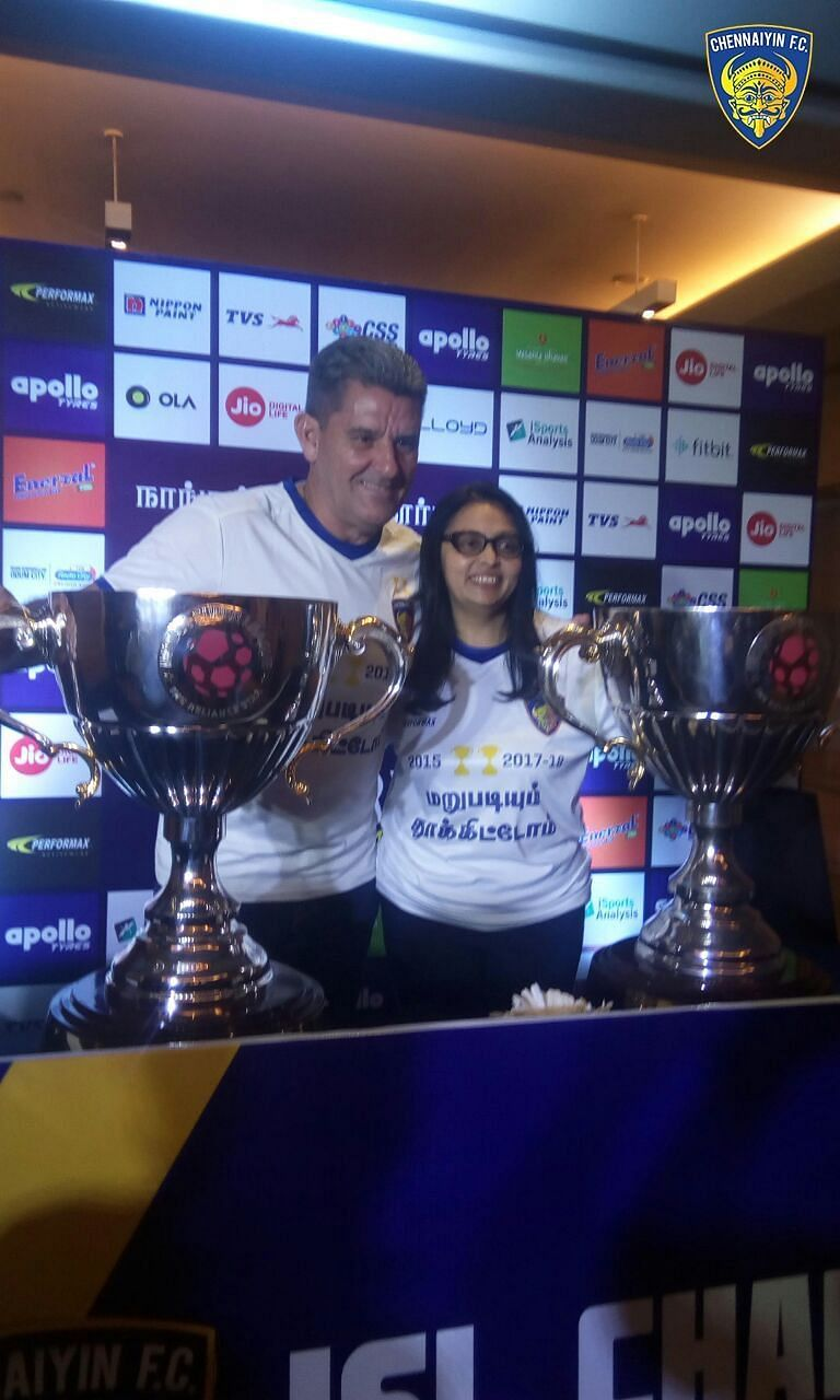 John Gregory and Vita Dani with the ISL trophy