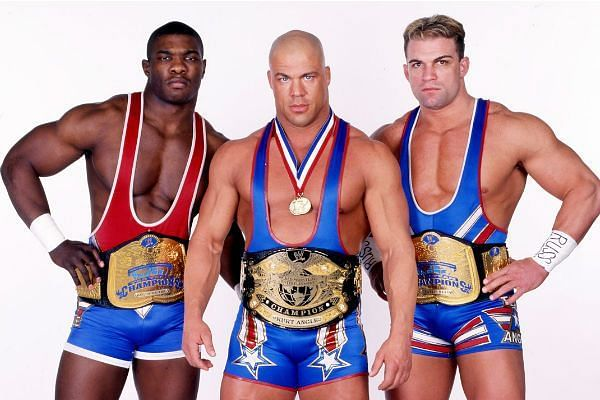 The Worlds Greatest Tag Team with their leader Kurt Angle.