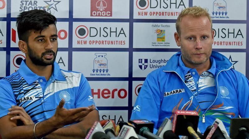India captain Manpreet Singh with head coach Sjoerd Marijne