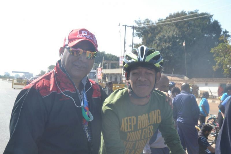 Abhishek (R) gets clicked with the Director of Special Olympics Bharat, Satbir Singh (L)