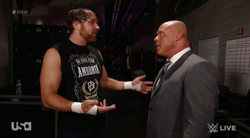 Dean Ambrose (left) with Kurt Angle