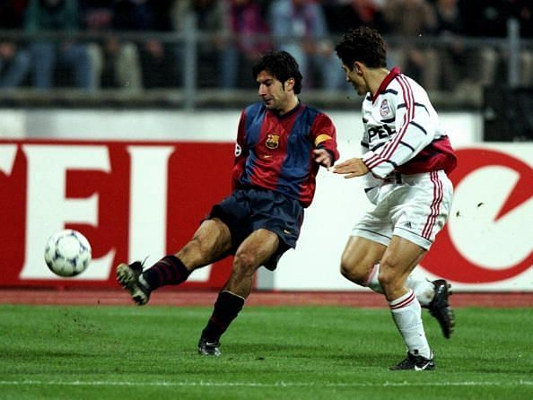 Luis Figo playing for Barcelona in 1998