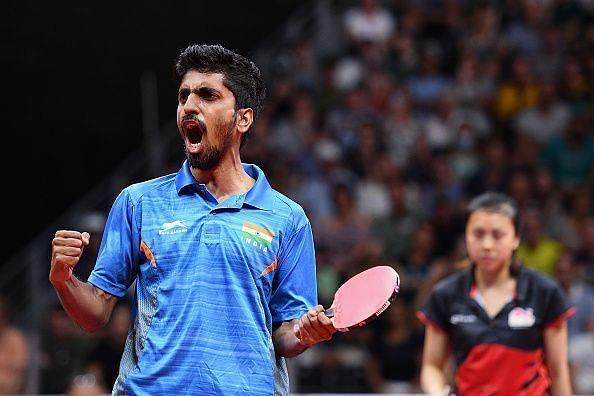 Sathiyan Gnanasekaran roaring after an intense battle