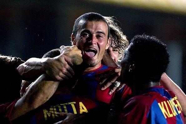 Luis Enrique celebrates scoring for Barcelona