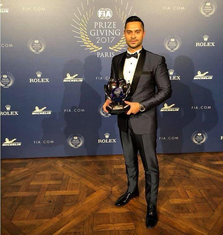 Gaurav Gill receiving his third APRC championship trophy at the FIA awards 2017