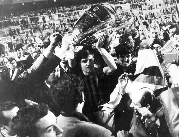 AC Milan lift the 1969 European trophy