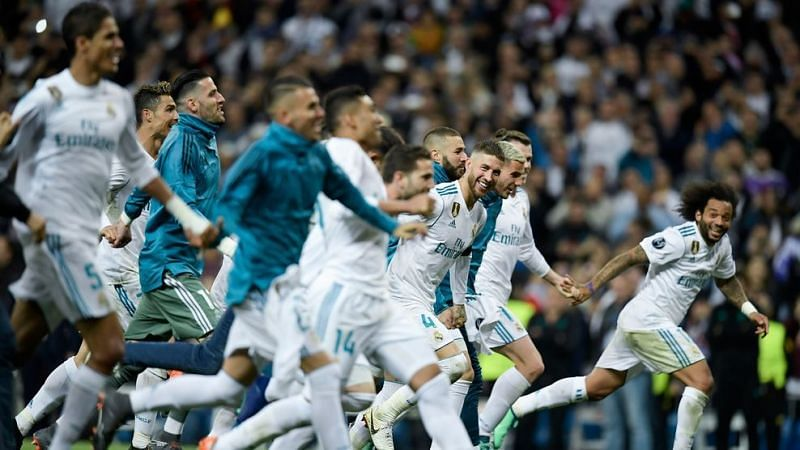 Real Madrid players celebrate their passage to the finals for the third consecutive time