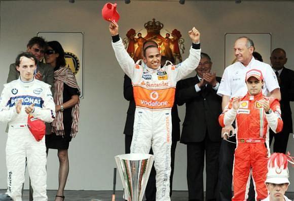 Hamilton, Kubica & Massa on the podium at the 2008 Monaco GP