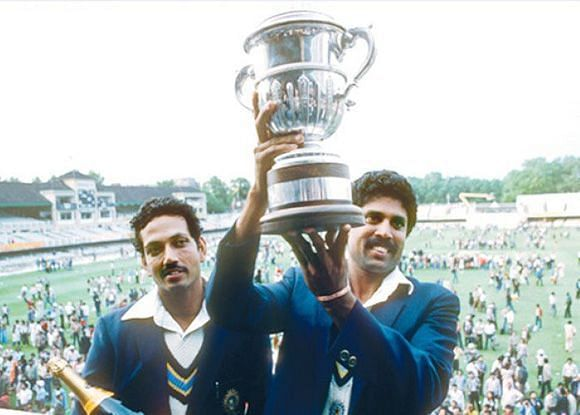 Kapil Dev with the coveted trophy
