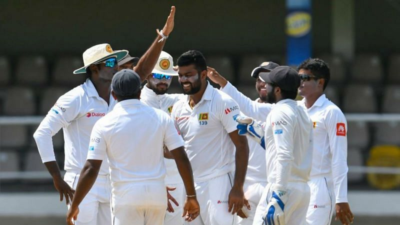 Sri Lanka celebrate a wicket against West Indies