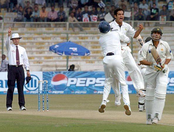 Indian bowler Irfan Pathan (2R) celebrat