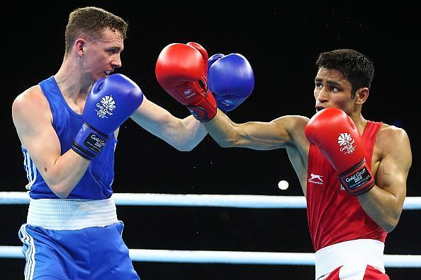 Gaurav Solanki in action during the 2018 CWG