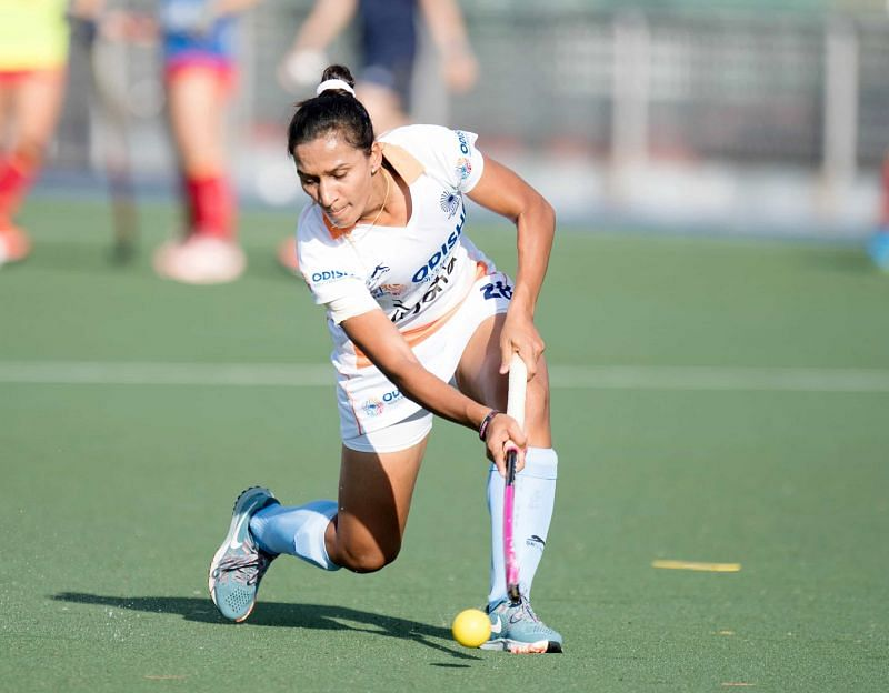Skipper Rani Rampal in action during the match