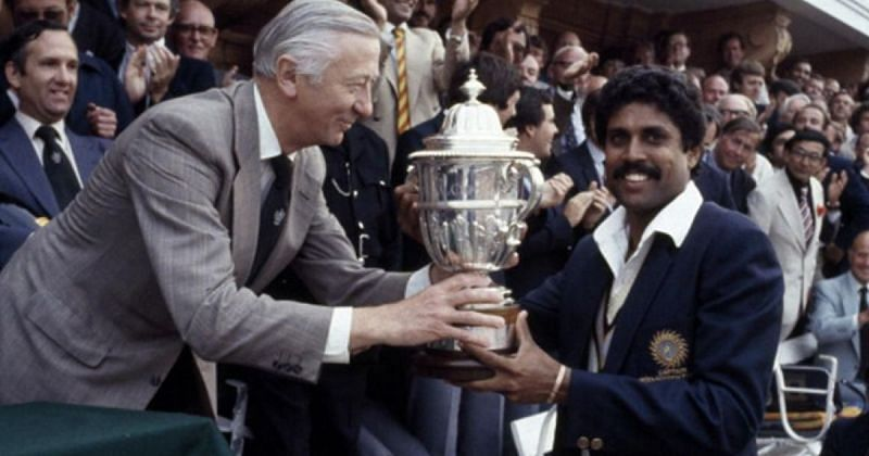 Kapil Dev with the World Cup trophy