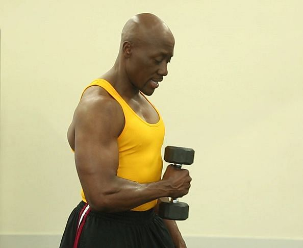 Rotator cuff exercise uses dumbbell: STEP FOUR: ; Bring the weight in to your waist, essentially rev