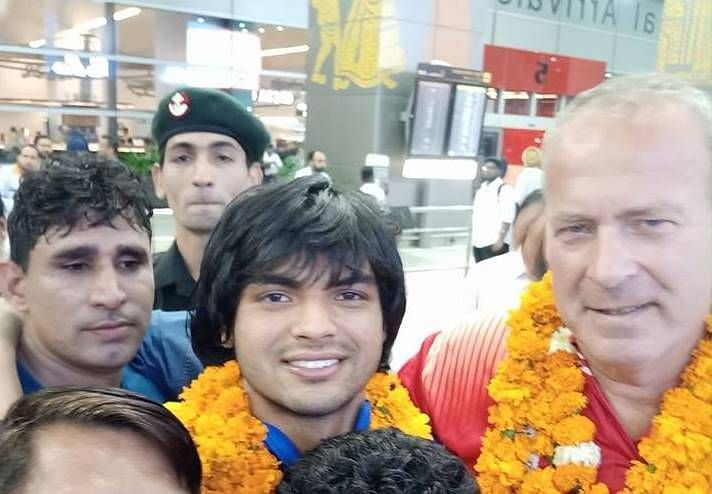 Neeraj Chopra with coach Uwe Hohn