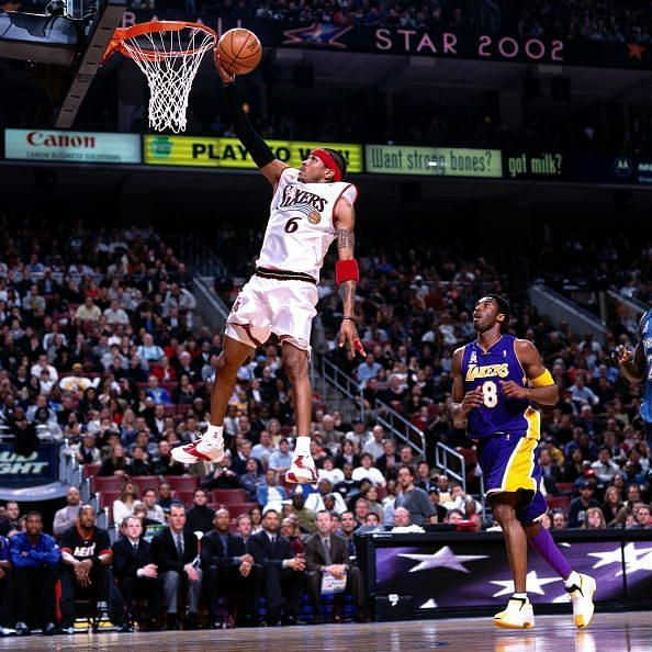 Iverson drives to the basket for a layup